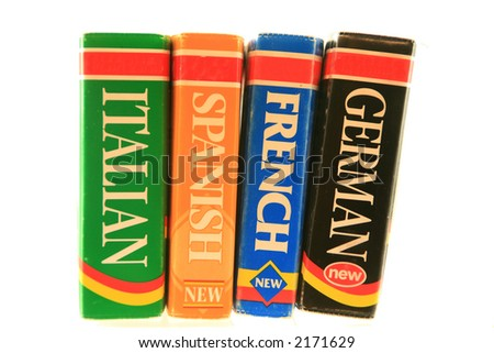 Foreign language dictionaries - stock photo