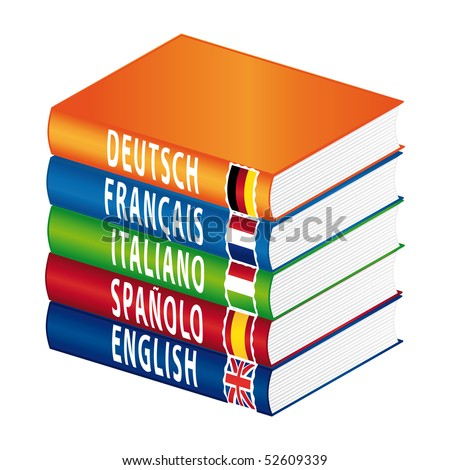 Foreign languages. Isolated books. - stock photo