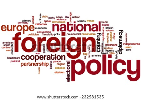 Foreign policy word cloud concept - stock photo