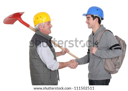 Foreman and apprentice - stock photo