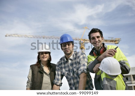 Foreman and his two colleagues - stock photo