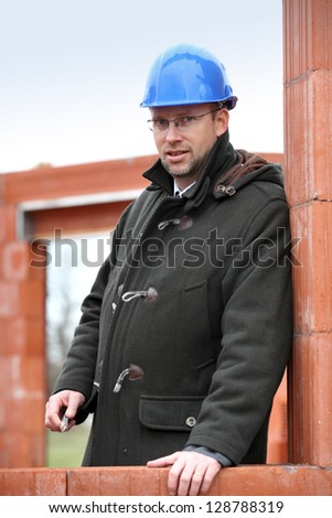 foreman on construction site - stock photo