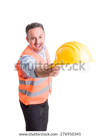 Foreman or engineer throwing hat on studio white background - stock photo