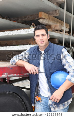 foreman posing in construction site - stock photo