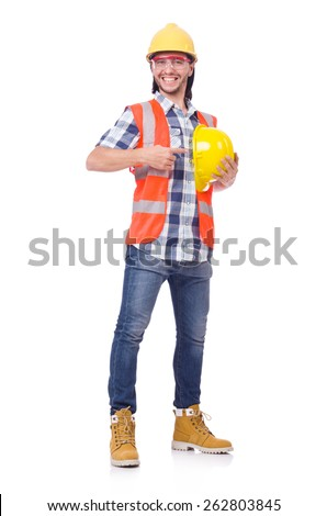 Foreman with yellow helmet isolated on white - stock photo