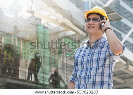 Foreman worker on construction site