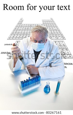 forensic analysis, science, medical, chemistry - a chemist works in his laboratory with various chemicals to document various reactions and interactions. Isolated on white with room for your text. - stock photo