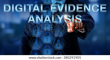 Forensic investigator is touching DIGITAL EVIDENCE ANALYSIS onscreen. Law enforcement technology and service concept. Magnifier icons represent forensic tools and lock symbols reference evidence. - stock photo