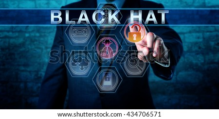 Forensic investigator touching BLACK HAT on a virtual control display. An unlocked padlock icon and a virtual hacker symbol do light up. Cyber crime concept for a criminal hacking for personal gain. - stock photo