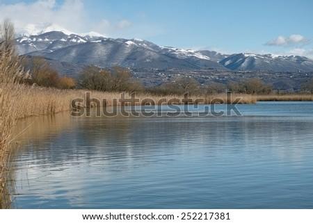 foreshortening of Ripasottile lake in winter, Latium, italy - stock photo