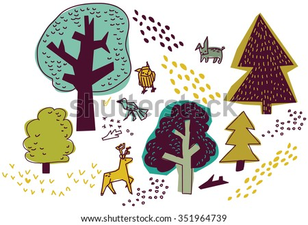Forest and animals isolate on white nature design elements. Trees and animals objects. Color illustration.  - stock photo