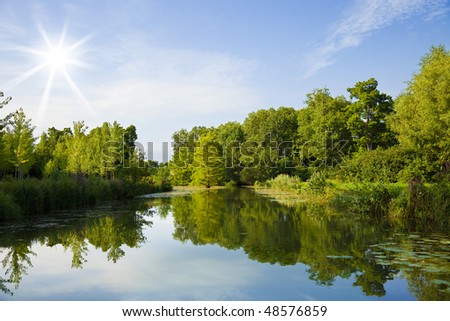Forest and canal of Cheverny Chateau park. France - stock photo