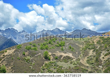 forest and glacier mountain landscape  - stock photo