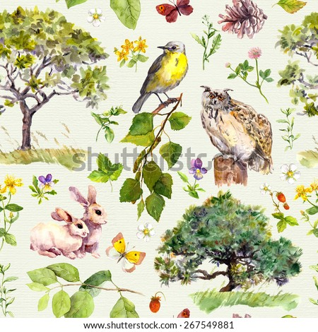 Forest and park: bird, rabbit animal, tree, leaves, flowers and grass. Seamless pattern. Watercolor - stock photo