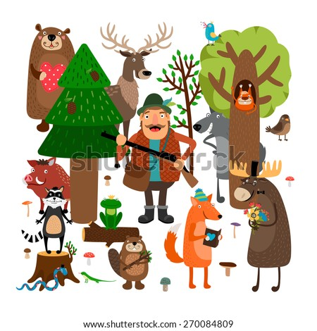 Forest animals and hunter. Squirrel and raccoon, wolf and frog, fox and stump - stock photo
