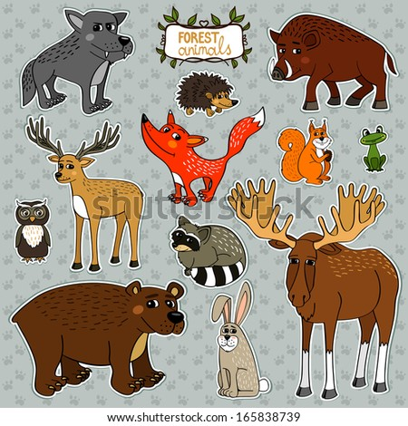 Forest animals owl deer fox set illustration - stock photo