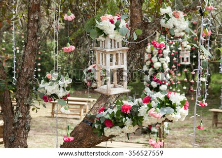 forest decorated with flowers for wedding