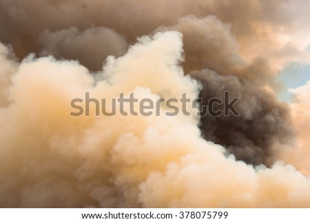 Forest fire creates huge billowing black and white clouds