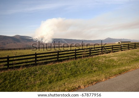 Forest fire in the Blue Ridge Mountains of Virginia.