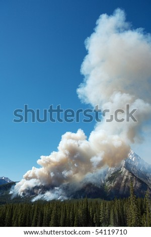 Forest fire in the Rocky Mountains - stock photo