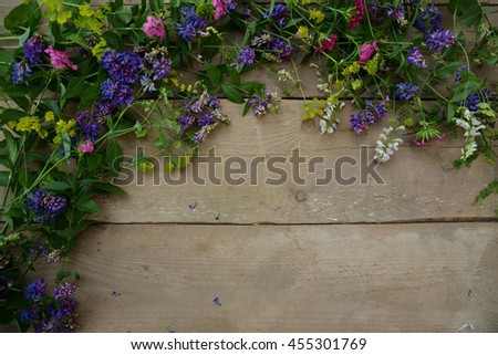 Forest flowers lying on a wooden background