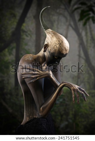 Forest guardian, fantasy style portrait - stock photo