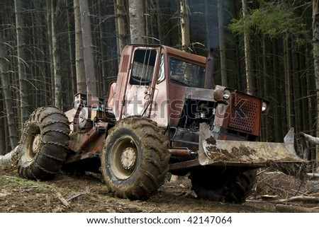 Forest heavy machinery moving logs from forest - stock photo