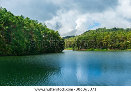 Forest hill nearby the lake in Pang Ung Thailand national park