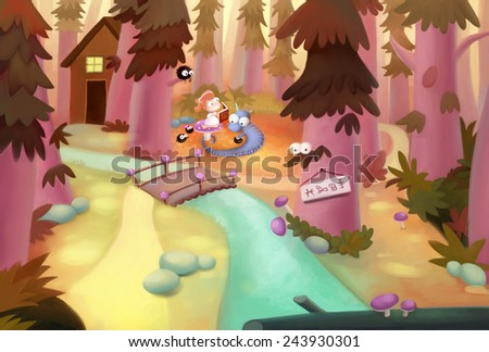 Forest - Illustration for children - stock photo