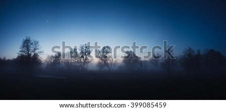 Forest in dusk. Night landscape. Trees in a fog on a background of the first star. High resolution panoramic photo.  - stock photo