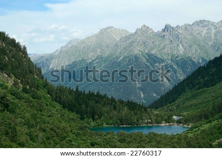 forest lake high at mountains. Baduk, Caucasus, Russia