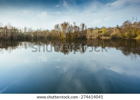 Forest Lake with Reflection.