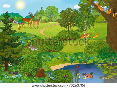 forest landscape with a lake and animals in the summer