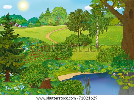 forest landscape with meadows and a lake in summer - stock photo