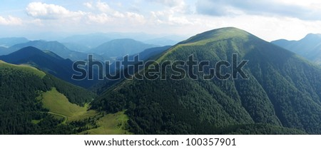 forest mountains panorama photo during summer, - stock photo