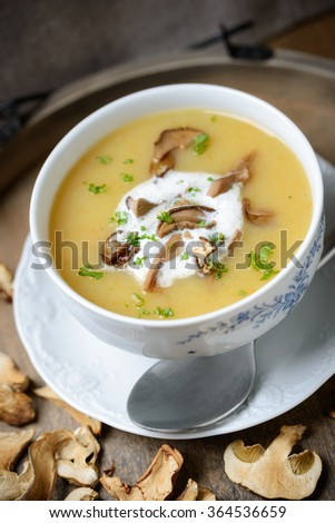 forest mushroom soup with whipped soy cream