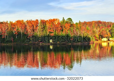 Forest of colorful autumn trees reflecting in calm lake - stock photo