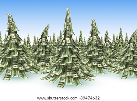 Forest  of Dollars banknotes made as Christmas tree - stock photo