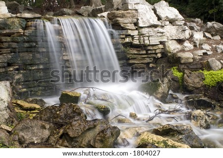 Forest Park Waterfall in St. Louis - stock photo