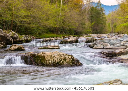 Forest river. Water cascades over rocks in Great Smoky Mountains National Park, USA