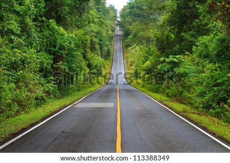 Forest road at Khaoyai National Park (The World Heritage of nature) Thailand - stock photo