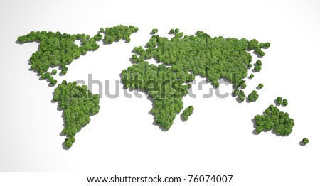Forest shaped like world map - stock photo