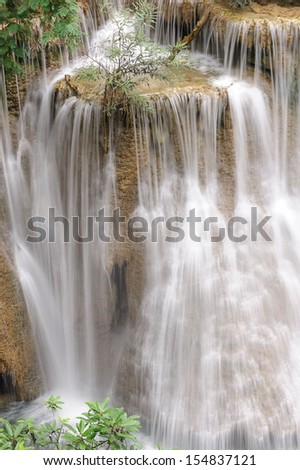 Forest Stream and Waterfall  in kanchanaburi, Thailand - stock photo