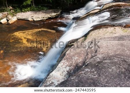 Forest Stream and Waterfall  in national park Kradueng,Thailand - stock photo