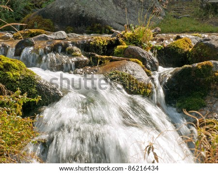 Forest stream running over mossy rocks in Alps mountains - stock photo