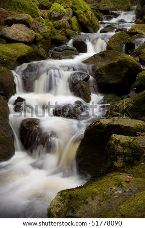 Forest stream, slow shutter creating motion effect - stock photo