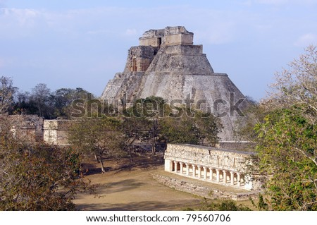 Forest, temple and pyramid in Uxmal, Mexico