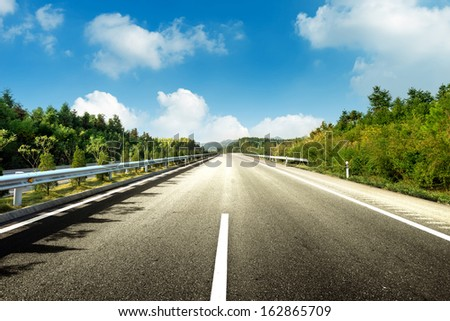 Forest under the blue sky, clean highways. - stock photo