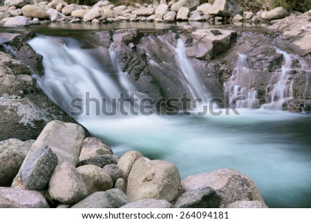 Forest waterfall in dusk. Shot in Tsehlanyane Nature Reserve, Lesotho.