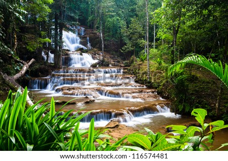 Forest waterfall in Tak province, Thailand - stock photo